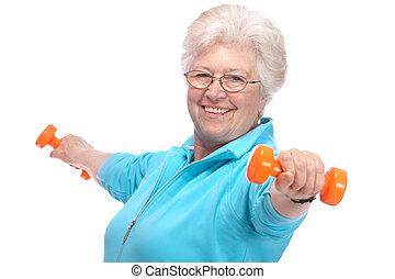 гимнастический зал, женщина, weights, старшая, за работой