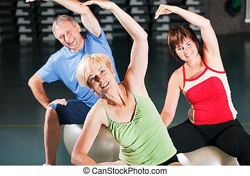 гимнастический зал, мяч, упражнение, люди