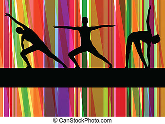 гимнастический, красочный, иллюстрация, вектор, задний план, фитнес, exercises, линия, женщины