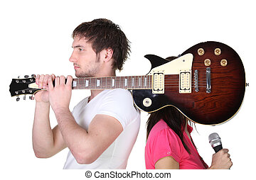 гитара, мальчик, над, плечо