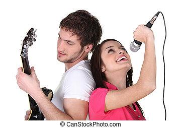 гитара, playing, пение, два, люди