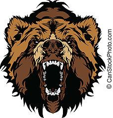 глава, гризли, медведь, вектор, gra, талисман