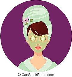 глава, женщина, полотенце, маска, огурец, чалма