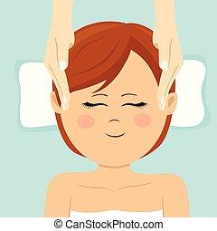 глава, женщина, spa., вверх, молодой, having, массаж, посмотреть