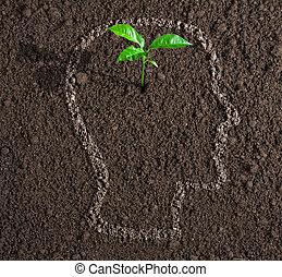 глава, концепция, почва, внутри, идея, молодой, рост, человек, contour