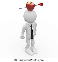 глава, человек, красный, яблоко