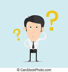 глава, his, бизнес, вопрос, нерешительность, отметка, scratches, человек
