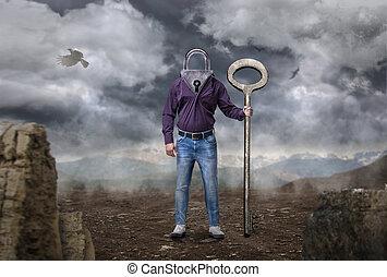 глава, holds, большой, замочная скважина, ключ, вместо, человек