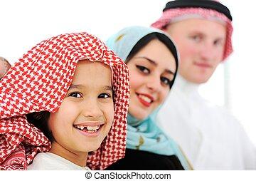 главная, арабский, семья, счастливый