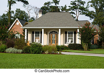 главная, газон, прекрасный, landscaped