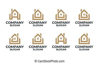главная, начальная, дом, монограмма, письмо, дизайн, задавать, логотип, здание, шаблон