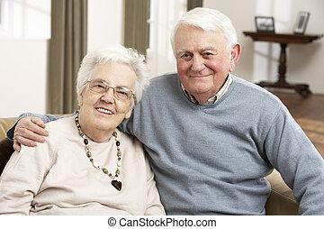 главная, пара, счастливый, старшая, портрет
