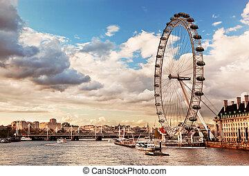 глаз, лондон, uk, skyline., англия, лондон