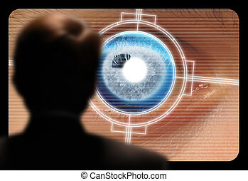 глаз, монитор, сканирование, ретинальный, просмотр, видео, человек