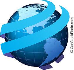 глобальный, коммуникация, вектор, -
