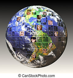 глобальный, люди, сеть