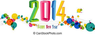 год, иллюстрация, вектор, новый, 2014, баннер, счастливый