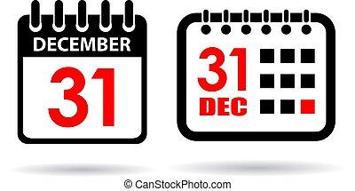 год, новый, вектор, календарь, значок