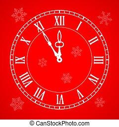 год, новый, часы, значок, рождество, приход