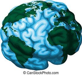 головной мозг, земной шар, иллюстрация, мир