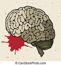 головной мозг, падение, кровь, человек