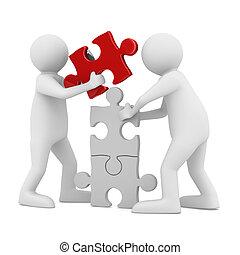 головоломка, два, isolated, строить, white., человек, образ, 3d