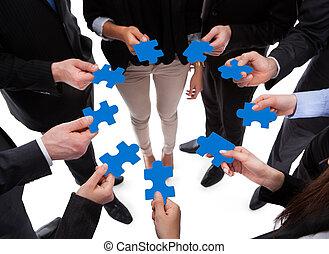 головоломка, люди, connecting, бизнес, pieces