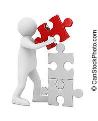 головоломка, isolated, строить, white., человек, образ, 3d