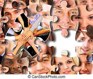 головоломка, pieces, группа, бизнес, люди