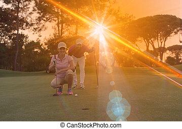 гольф, закат солнца, курс, пара