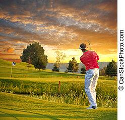 гольф, красочный, против, закат солнца, playing, человек