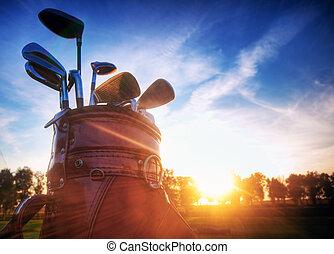 гольф, шестерня, закат солнца, clubs