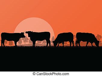 гора, говядина, корова, природа, сельская местность, иллюстрация, пасти, ферма, вектор, лес, задний план, крупный рогатый скот, дикий, молоко, пейзаж