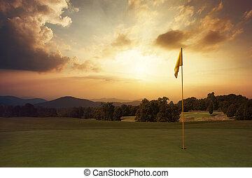 гора, гольф, восход, курс
