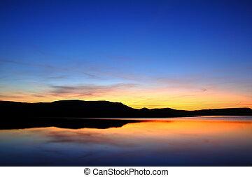 гора, до, восход, озеро, утро