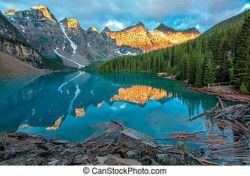 гора, желтый, морена, озеро, пейзаж