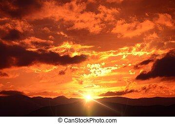 гора, закат солнца, пейзаж