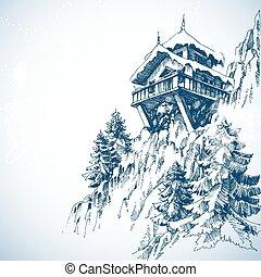 гора, зима, дерево, сосна, хижина, лес, пейзаж