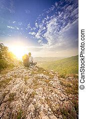 гора, люди, после, восхищенный, закат солнца, альпинизм, устала