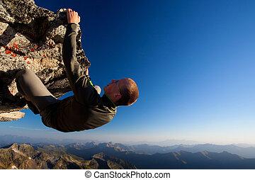 гора, молодой, высокая, ассортимент, выше, камень, альпинизм, человек