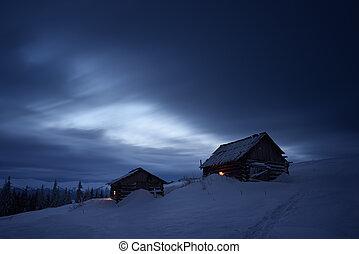 гора, ночь, пейзаж, деревня