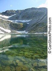 гора, озеро, пейзаж