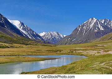 гора, река, пейзаж