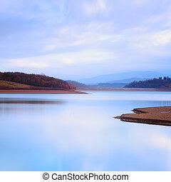 гора, холодно, озеро, пейзаж, atmosphere.