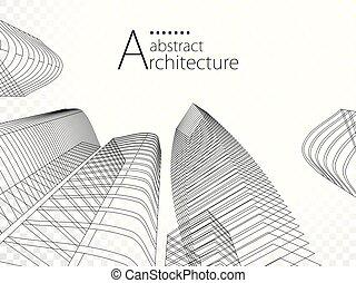 городской, design., здание, современное, иллюстрация, архитектура, 3d