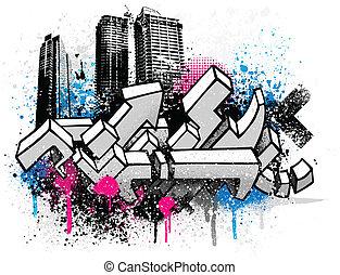 город, граффити, задний план
