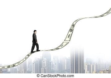 город, гулять пешком, тенденция, деньги, выращивание, бизнесмен, посмотреть