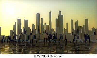 город, закат солнца, панорама, океан