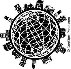 город, земной шар