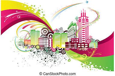 город, красочный, задний план